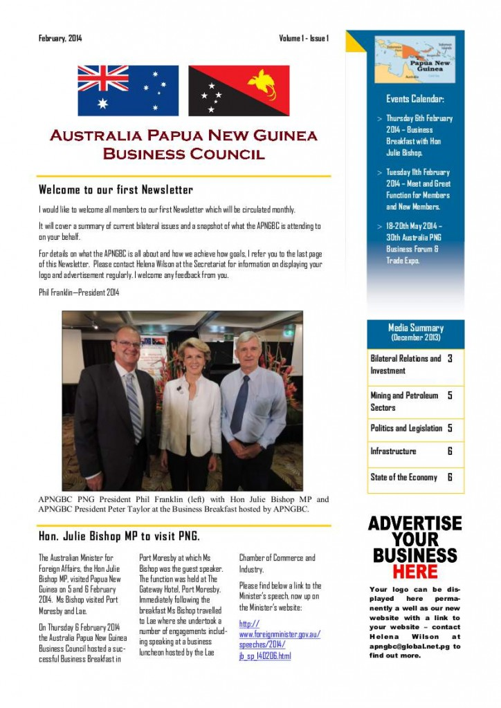 APNGBC Newsletter Front Page 2014-01