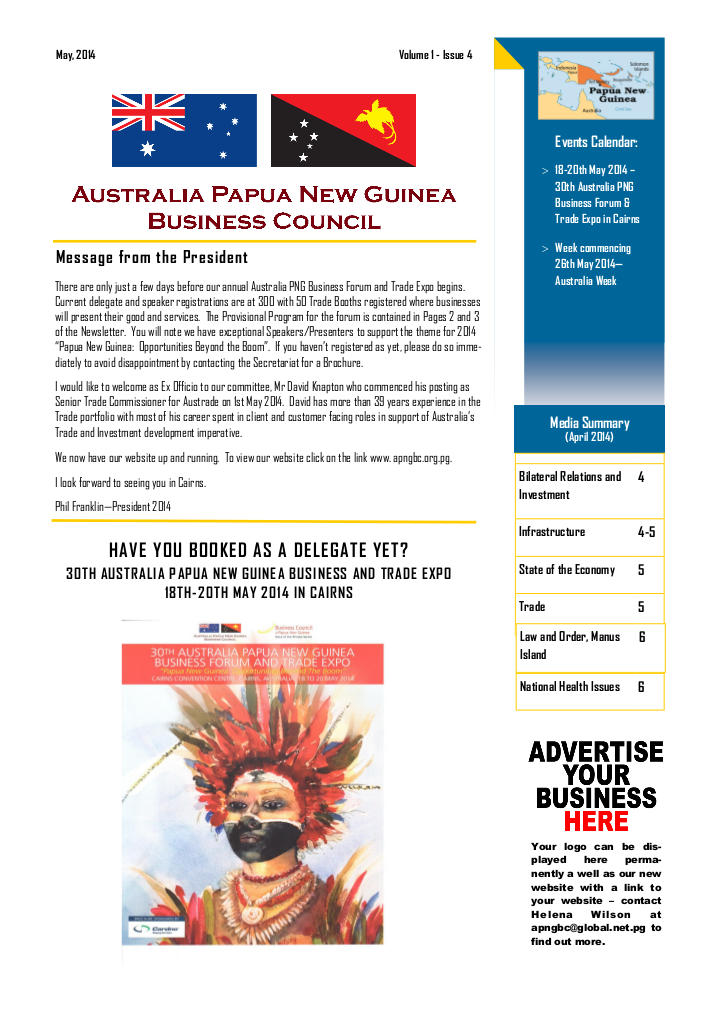 APNGBC Newsletter Front Page May 2014